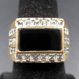 Other - Size 8 Copper Tone Onyx With CZ Diamonds Ring